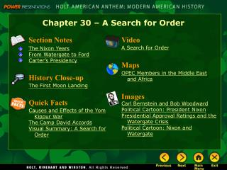 Chapter 30 – A Search for Order
