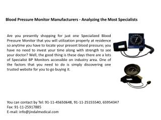 Blood Pressure Monitor Manufacturers - Analyzing the Most Sp