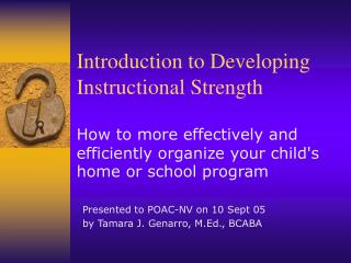 Introduction to Developing Instructional Strength