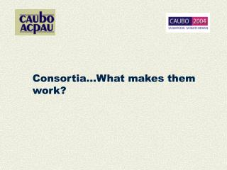 Consortia…What makes them work?