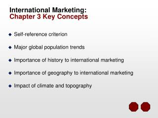 International Marketing: Chapter 3 Key Concepts