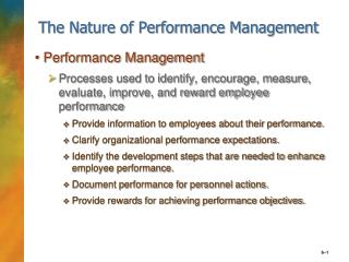 The Nature of Performance Management
