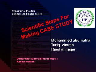 Scientific Steps For Making CASE STUDY