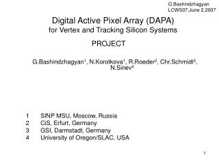 Digital Active Pixel Array (DAPA) for Vertex and Tracking Silicon Systems