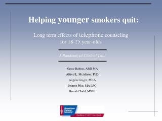 Helping  younger  smokers quit: