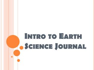Intro to Earth Science Journal