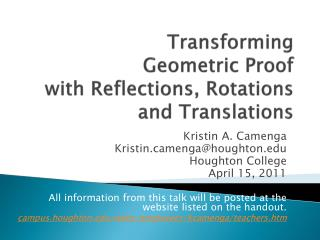 Transforming  Geometric Proof  with Reflections, Rotations and Translations