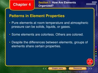 Patterns in Element Properties