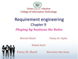 University of Palestine College of Information Technology Requirement engineering