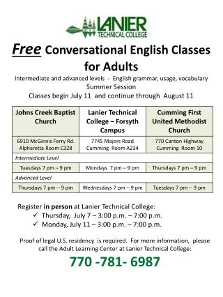 Free Conversational English Classes  for Adults