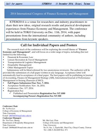 Call  for  papers                  ICFEM2014    11 December 2014, Chiayi, Taiwan