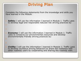 Driving Plan