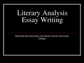 Literary Analysis Essay Writing