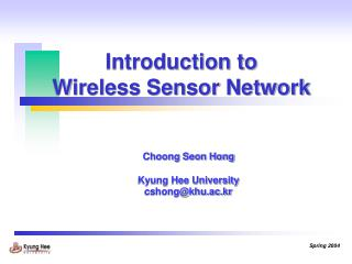 Introduction to  Wireless Sensor Network