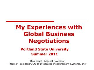 My Experiences with Global Business Negotiations