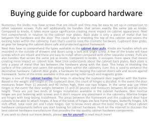 Buying guide for cabinet hardware