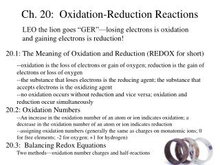 Ch. 20:  Oxidation-Reduction Reactions