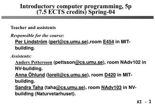 Introductory computer programming, 5p (7.5 ECTS credits) Spring-04