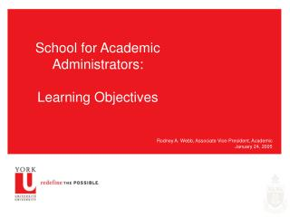 School for Academic Administrators: Learning Objectives