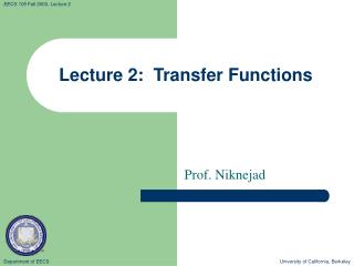 Lecture 2:  Transfer Functions