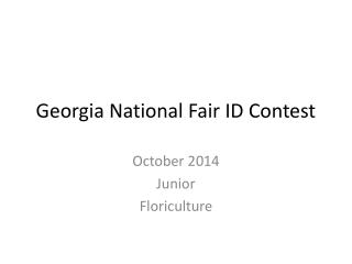 Georgia National Fair ID Contest