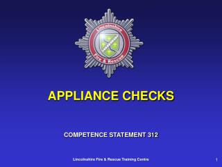 APPLIANCE CHECKS