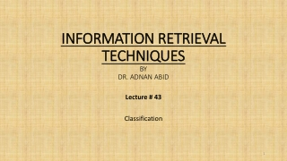 Lecture 8.1: Text Classification