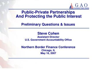Public-Private Partnerships  And Protecting the Public Interest   Preliminary Questions  Issues