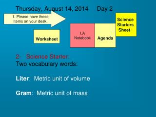 Thursday, August 14, 2014     Day 2