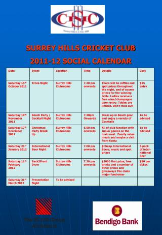 SURREY HILLS CRICKET CLUB 2011-12 SOCIAL CALENDAR