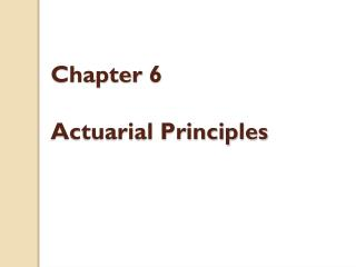 Chapter 6 Actuarial Principles