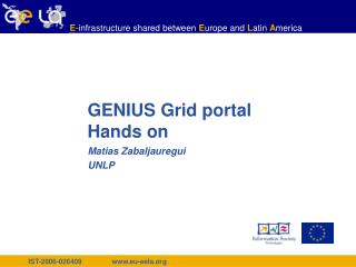 GENIUS Grid portal Hands on