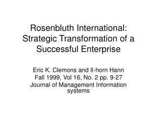 Rosenbluth International: Strategic Transformation of a Successful Enterprise