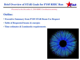 Brief Overview of STAR Goals for FY05 RHIC Run