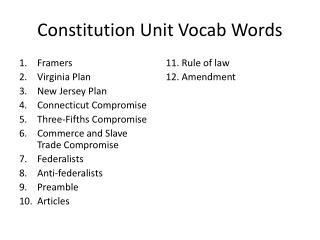 Constitution Unit Vocab Words