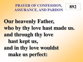 Prayer of Confession, Assurance, and Pardon