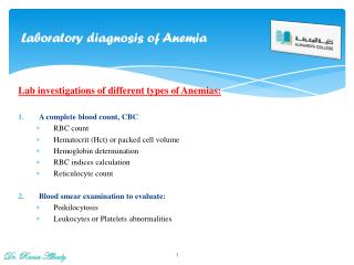 Laboratory diagnosis  of Anemia