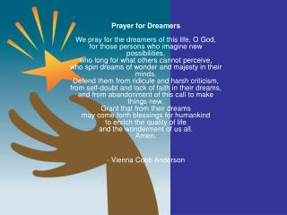 Prayer for dreamers