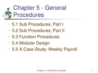 Chapter 5 - General Procedures
