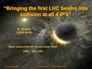"""Bringing the first LHC beams into collision at all 4 IP's"""