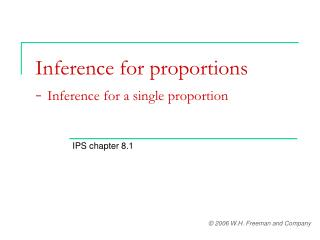 Inference for proportions - Inference for a single proportion