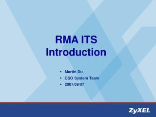RMA ITS Introduction