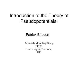 Introduction to the Theory of Pseudopotentials
