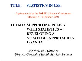 TITLE:	 STATISTICS IN USE