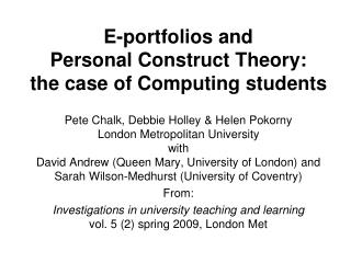 E-portfolios and  Personal Construct Theory:  the case of Computing students