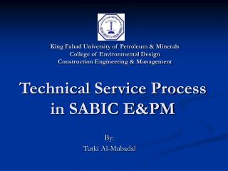 Technical Service Process in SABIC EPM