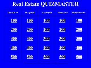 Real Estate QUIZMASTER