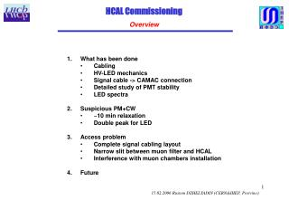 HCAL Commissioning Overview