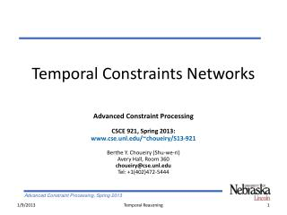 Temporal Constraints Networks