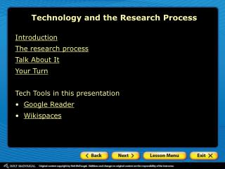 Technology and the Research Process